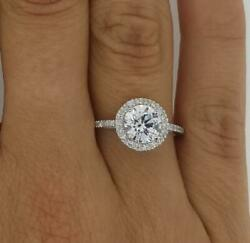 1.85 Ct Pave Halo Round Cut Diamond Engagement Ring Si1 D White Gold 18k
