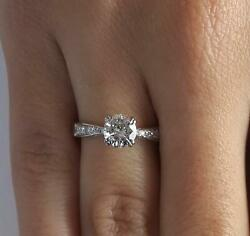 1.5 Ct Pave Double Claw Round Cut Diamond Engagement Ring Vs2 F White Gold 18k