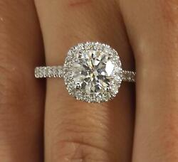 2.55 Ct Pave Halo Round Cut Diamond Engagement Ring Si2 H White Gold 14k