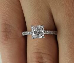 1.75 Ct Cathedral Pave Princess Cut Diamond Engagement Ring Vs2 H White Gold 14k