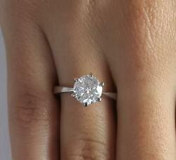 1.75 Ct Classic 6 Prong Round Cut Diamond Engagement Ring Si2 D White Gold 18k