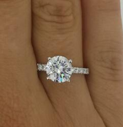 2.5 Ct Pave 4 Prong Round Cut Diamond Engagement Ring Si1 D White Gold 14k