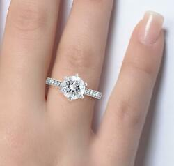 1.3 Ct Pave 6 Prong Round Cut Diamond Engagement Ring Vs1 F White Gold 14k