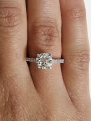 1.75 Ct Pave 4 Prong Round Cut Diamond Engagement Ring Si1 F White Gold 14k