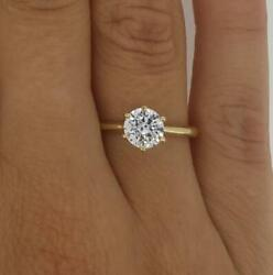 1.5 Ct Classic 6 Prong Round Cut Diamond Engagement Ring Si1 D Yellow Gold 14k