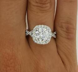 1.75 Ct Halo Pave Infinity Round Cut Diamond Engagement Ring Vs1 D White Gold
