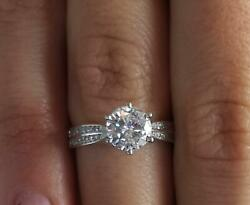 2 Ct Double Row Pave Round Cut Diamond Engagement Ring Si2 F White Gold 18k