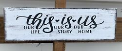 Farmhouse Rustic Wood Sign This Is Us Family Friend Together Home Small 12