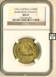 1976 Austria Gold 1000 Schilling Babenberg Dynasty Coin Ngc Graded - Ms 67