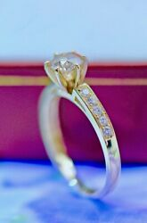 14k Yellow Gold Engagement Ring 1.21ct Natural Diamond Round Cut Size 6 Or L
