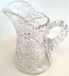 American Brilliant Water Pitcher Beautiful Leaded Cut Glass Crystal Large Size