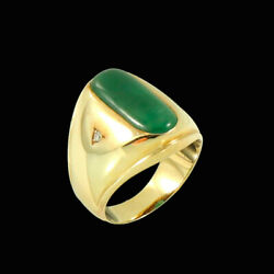 Danish 14k Gold Ring With Jade And Two Diamonds. 1960s