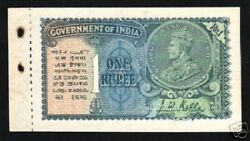 India 1 Rupee P-14 B 1935 W/o Portrait Watermark Unc King George V Booklet Note