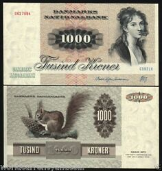 Denmark 1000 1,000 Kroner P53 1992 Rare Sign Eu Squirrel Unc Large Currency Note