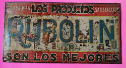 Mexican Mexico Vintage Early 1900's Rubolin Brooklyn Varnish Co. Tin Sign Rare