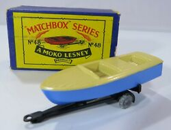 Vintage Boxed Moko Lesney Matchbox Diecast Blue Meteor Boat And Trailer No. 48