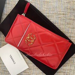 Chanel 20P New Collection Phone Card Holder Chain CC Logo Gold HW Lipstick Red