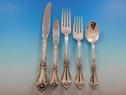 Royal Rose By Wallace Sterling Silver Flatware Set For 6 Service 34 Pieces