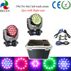 2psc/flycase 19x15w Rgbw 4in1 Aura Led Zoom Moving Head Light Dj Party Lights