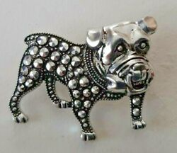 English Bulldog Pin Brooch Silvertone Marked Germany