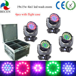4pcs/flycasae 19x15w Rgbw 4in1 Aura Led Zoom Moving Head Light Dj Party Lights