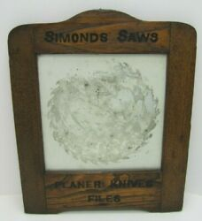Simonds Saws Are The Best Antique Reverse Glass Mirror Sign Fitchburg Mass Usa