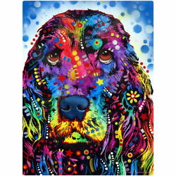 Cocker Spaniel Dk Blue Dean Russo Dog Wall Decal 24 in. Removable Wall Art