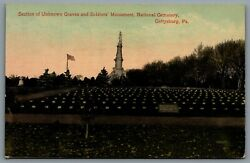 Postcard Gettysburg Pa C1932 Unknown Graves And Soldiers Monument Natl. Cemetery