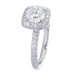 Cushion Halo Round Center Diamond Engagement Ring Setting 1.05ct Total Sides In