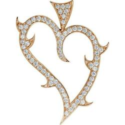Couture Guarded Love Heart Pendant with Cubic Zirconias in 14K Pink Rose Gold