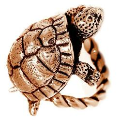 42mm Turtle Rope Ring With Black In 14k Pink Rose Gold