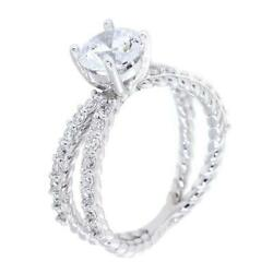 Twist Rope Crossover Engagement Ring Setting For A 1.0ct Round Center 0.45ct To