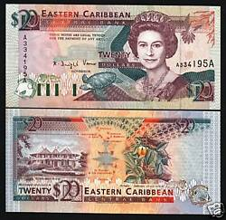 East Caribbean States Antigua 20 Dollars P-28 A 1993 Queen Turtle Ship Unc Note