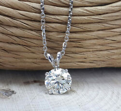 1.50 Certified D Si2 Round Cut Diamond Pendent Solitaire 14k White Gold W/chain
