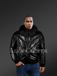 Puffy V-bomber Leather Jacket With Detachable Real Fur Collar For Men