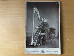 Rare Large Musical Instrument Musician Bespectled Harpist With Harp Cabinet Card