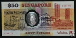 Singapore 50 Dollars P31 1990 Polymer J Replacement Commemorative Rare Banknote