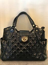 Hot Versace Logo Iconic Monogram Quilted Black Patent Leather Satchel Bag 3,300