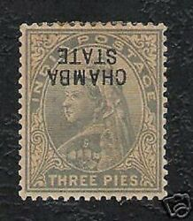 Chamba State 3 Pies Queen Victoria Error Over Print Inverted Rare Indian Stamp
