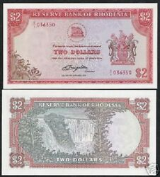 Rhodesia 2 Dollars P-31 C 1979 Rhodes Water Mark Replacement Unc Currency Note