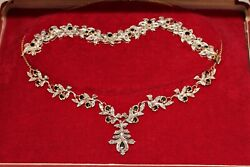 Old Original 18k Gold Diamond And Sapphire Decorated Necklase And Bracelet