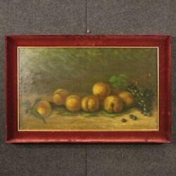 Still Life Framework Oil On Canvas Signed Painting With Frame Antique Style 900