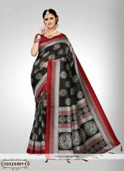 Black Printed Designer Bollywood Saree Party Wear Sari 1144