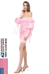 NEW Cute Pink Feather Button Off Shoulder Dress $25.64