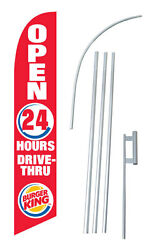 Burger King Banner Flag Advertising Complete Tall Sign Kit 2.5and039 Wide Red