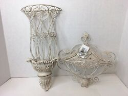 New Shabby Farmhouse Chic Set 2 Off White Wire Wall Baskets Rustic Distressed