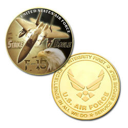 U.s. United States Air Force Usaf F-15 Strike Eagle Gold Plated Challenge Coin