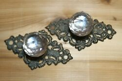 Antique Style Drawer Pull Glass Knob Cast Iron Backplate 3 Inch Center Hw-62