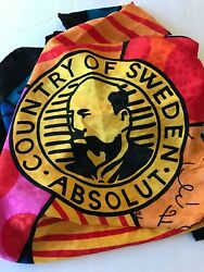 Gorgeous Absolut Vodka Scarf Signed By The Artist 1991