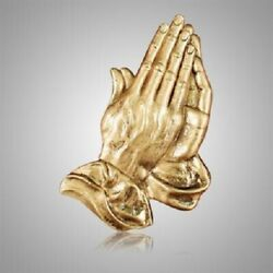 Brass Praying Hands Applique For Round Cremation Urn Pewter Also Available